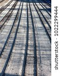 long line of multiple railroad... | Shutterstock . vector #1022299444