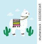 alpaca and cactus vector...   Shutterstock .eps vector #1022302165