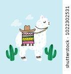 alpaca and cactus vector... | Shutterstock .eps vector #1022302531