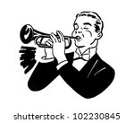 trumpet player   retro clipart...