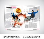 sport magazine layout with... | Shutterstock .eps vector #1022318545