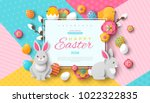 Stock vector easter card with square frame spring flowers and flat easter icons on colorful modern geometric 1022322835