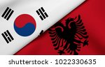 flag of south korea and albania | Shutterstock . vector #1022330635
