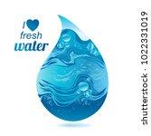 vector drop of water. blue... | Shutterstock .eps vector #1022331019