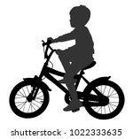 little boy riding bicycle... | Shutterstock .eps vector #1022333635