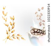 corn flakes oats milk spray 3d... | Shutterstock .eps vector #1022333914