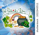 holiday label with shamrock ... | Shutterstock . vector #1022343511