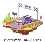 vector low poly rally racing... | Shutterstock .eps vector #1022347051