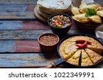 Stock photo mexican food mix tacos cornbread salsa with tomato red onion lime cilantro corn and hot 1022349991