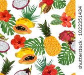beautiful tropical pattern with ...   Shutterstock .eps vector #1022351434
