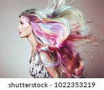 beauty fashion model girl with... | Shutterstock . vector #1022353219