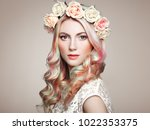 beauty fashion model girl with... | Shutterstock . vector #1022353375