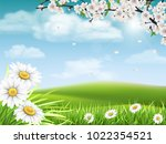 spring landscape with a... | Shutterstock .eps vector #1022354521