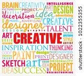 creative word cloud  creative... | Shutterstock .eps vector #1022355355