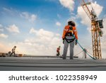 construction worker wearing... | Shutterstock . vector #1022358949