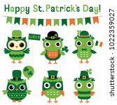 cute vector owls set for st.... | Shutterstock .eps vector #1022359027