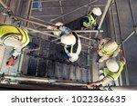 top view group of engineer walk ...   Shutterstock . vector #1022366635