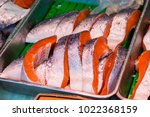 fresh salmon fillet in the... | Shutterstock . vector #1022368159