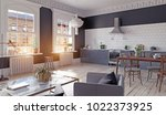modern kitchen interior. 3d... | Shutterstock . vector #1022373925