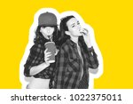 young hipster girls having fun... | Shutterstock . vector #1022375011