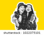 young hipster girls having fun... | Shutterstock . vector #1022375101