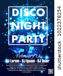 disco night party vector poster ... | Shutterstock .eps vector #1022378254