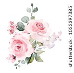 decorative watercolor flowers.... | Shutterstock . vector #1022397385
