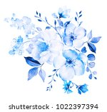 decorative watercolor flowers.... | Shutterstock . vector #1022397394