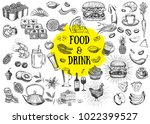 vector set with food and drink... | Shutterstock .eps vector #1022399527