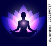 human body in yoga lotus asana... | Shutterstock .eps vector #1022399767
