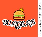 burger logo on orange background | Shutterstock .eps vector #1022402917