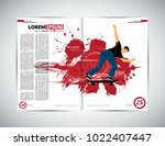 sport magazine layout with... | Shutterstock .eps vector #1022407447