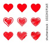 vector hearts set. different... | Shutterstock .eps vector #1022419165