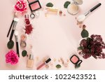 woman make up products ... | Shutterstock . vector #1022423521