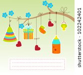 greeting with a baby elements.... | Shutterstock .eps vector #102242401