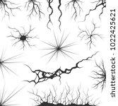 set of various vector cracks ...   Shutterstock .eps vector #1022425621