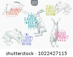 happy easter greeting card with ... | Shutterstock .eps vector #1022427115