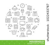 collection of household thin... | Shutterstock .eps vector #1022433787
