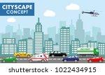 modern cityscape concept. flat... | Shutterstock .eps vector #1022434915