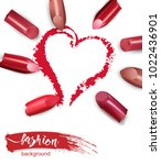 heart drawn with red lipstick.... | Shutterstock .eps vector #1022436901