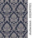 vector classic damask seamless... | Shutterstock .eps vector #1022437021