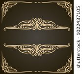 vector decorative golden frames ... | Shutterstock .eps vector #1022437105