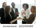 funny smiling businesswomen... | Shutterstock . vector #1022439385