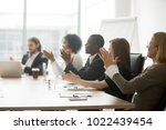 multiracial business people... | Shutterstock . vector #1022439454
