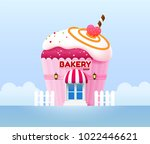 bakery shop building front... | Shutterstock .eps vector #1022446621