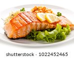 grilled salmon and vegetables | Shutterstock . vector #1022452465