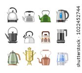teapot and kettle vector...   Shutterstock .eps vector #1022452744