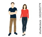 man and woman standing. people... | Shutterstock .eps vector #1022453779