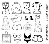 women clothes and accessories | Shutterstock .eps vector #1022454004