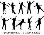 children black silhouettes. | Shutterstock .eps vector #1022455237
